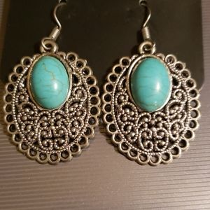 """ 3 for $20"" Cute Turquoise Scroll Earrings"